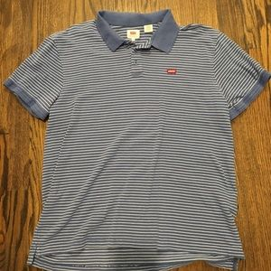 Men's XL LEVI'S blue and white striped polo